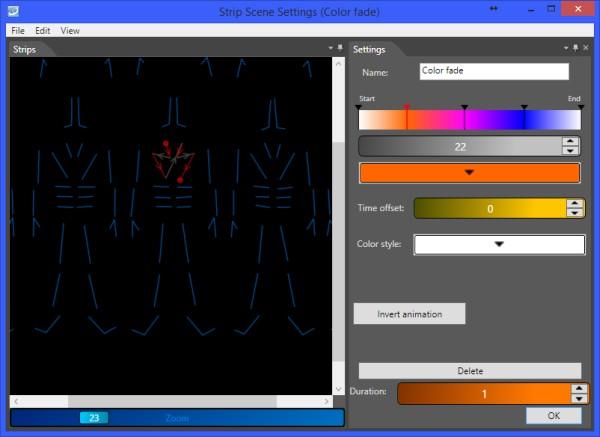 Color scene editor in LED Strip Studio software